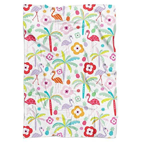 Flamingo Paradise Couverture polaire – doux Couvre-lit en fausse fourrure, blanc, Mini Fleece Blanket 35x27in