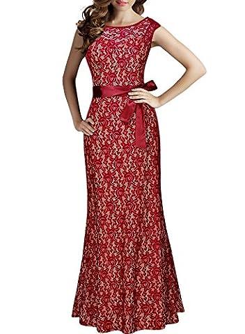 Miusol Damen Kleid aus Spitzen Rundhals Rueckenfrei Brautjungfer Cocktailkleid Fishtail Langes Abendkleid Rot Groesse M