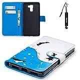 Huawei Honor 7 Hülle Huphant Schutzhülle Wallet Case Tasche Hülle für Huawei Honor 7 Handytasche Stand Funktion Kartenfächer Magnet Etui SchaleTasche Flip Wallet Case Pen -Pinguin