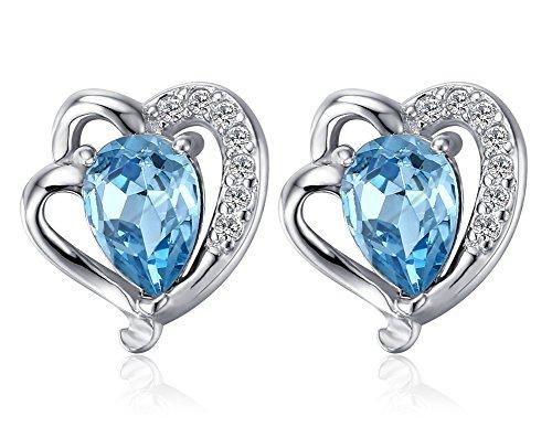 Vnox des Mädchens der Frauen 925 Sterlingsilber blauer Kristall Teardrop Bolzen Ohrringe (Kostüm Weiblich Rost)