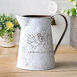 Französisch Stil Weiß Shabby Chic Mini-Metall-Pitcher Blumen-Vase mit Vintage Vogel Dekorative, Schmiedeeisen manuelle Pflanzen Vase mit Klassik