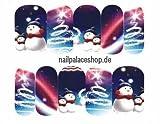 ACNails-Nagel Sticker Wasser Transfer Sticker Nailart Nagel Tattoos Nagelaufkleber Winter Weihnachten Schneemann Motive Full Cover Cartoon- A1142