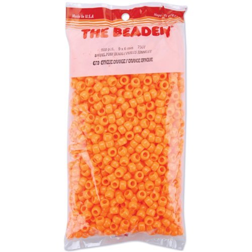 The Beadery 6 by 9mm Barrel Pony Bead, Orange, 900-Pieces by The Beadery -