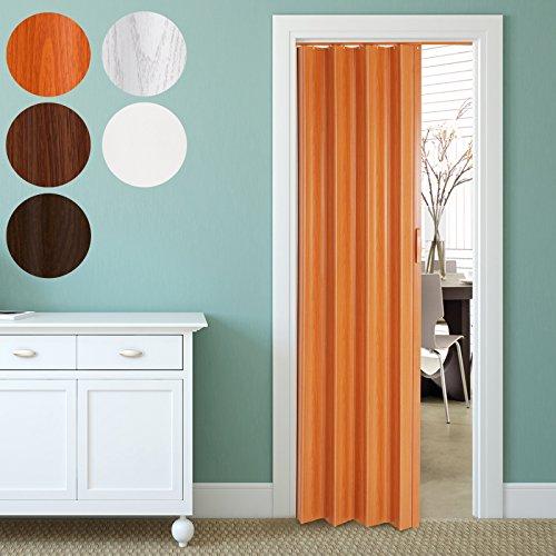 Jago Porta scorrevole porta soffietto in PVC parete singola ca. 84/8/202 cm colore ciliegio