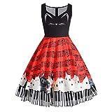 Daygeve Womens Cat Musical Note Impresión Sleeveless beiläufiges Vestido Vintage Lace DRES Rojo Rojo 3XL
