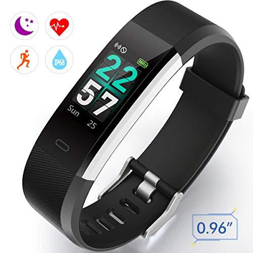 Fitness Tracker, IP68 Fitness Armband mit 0,96 Zoll Farbbildschirm Aktivitätstracker Uhr Wasserdicht Smartwatch Damen 14 Trainingsmodi Smart Watch Pulsmesser Schrittzähler Uhr Herren