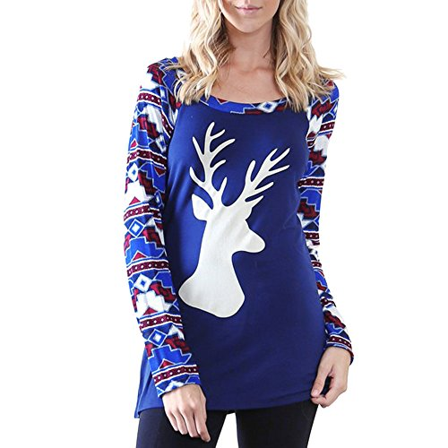 OSYARD Christmas Sweatshirt Knitted Sweater Casual Women Reindeer Print Splicing Long Sleeve O-Neck T-shirt Tops Blouse Shirt Top (XL, Blue)
