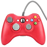 Prous XW03 PC Controlleur Xbox 360 Filaire USB Gamepad Compatible pour Microsoft 360 Console Windows PC Ordinateur Portable-rouge