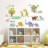 Decowall DW-1508 Geflickter Dschungeltiere Dschungel Tiere Wandtattoo Wandsticker Wandaufkleber Wanddeko für Wohnzimmer Schlafzimmer Kinderzimmer