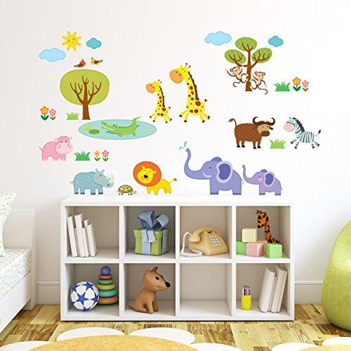dschungel wandtattoo Decowall DW-1508 Geflickter Dschungeltiere Dschungel Tiere Wandtattoo Wandsticker Wandaufkleber Wanddeko für Wohnzimmer Schlafzimmer Kinderzimmer