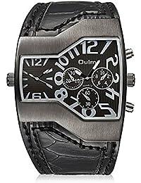 Ilove EU Hombre Reloj de pulsera cuarzo japonés analógico Dual de movimiento doble tiempo zonas Reloj Deportivo con esfera negro y piel de serpiente Pulsera de piel