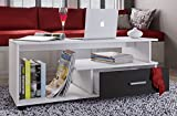 VCM Couchtisch Sofatisch Wohnzimmertisch Beistelltisch Wohnzimmer Tisch Weiß/Schwarz 43 x 110 x 40 cm