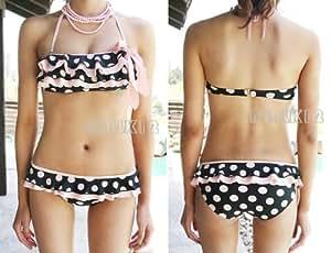 Padded Polka Dot Halter Neck Ruffled Swimwear Swimsuit Bikini, UK size 4,6,8,10,12,14 (UK Size 4 (Tag M))