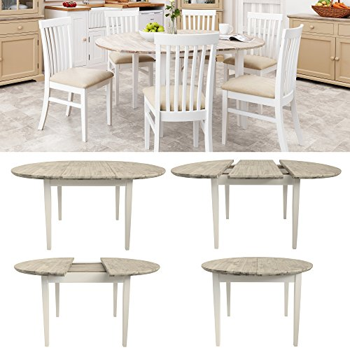 Florence Large Round / Oval Extended Table. White Kitchen Table With Center  Extension (115 160cm) Quality Kitchen Dining Table With Thick Acacia Top.