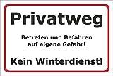 Winter Schnee Schild - Privatweg - Kein Winterdienst - 30x20cm mit Bohrlöchern | stabile 3mm starke Aluminiumverbundplatte – S00018-001-B +++ in 20 Varianten erhältlich