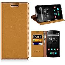 Funda OnePlus One, Mobesv Funda Cuero, Carcasa en libro, Ranuras para Tarjetas, Soporte Para OnePlus One (OnePlus 1) - Marrón
