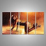Bild Bilder auf Leinwand Junges Sexy Dünnes Frauspfostentanzen mit Roten Lichtern und Wandbild, Poster, Leinwandbild LYV