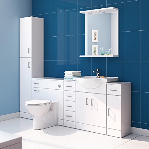 tall gloss white bathroom cupboard reversible storage furniture
