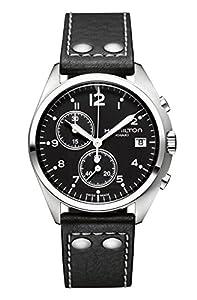 Hamilton H76512733 - Reloj de cuarzo para hombre, correa de cuero, color negro de Hamilton