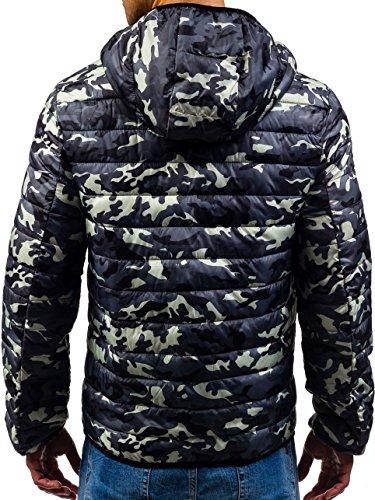 BOLF Herren Sweatjacke Übergangsjacke Sportjacke Kapuze Army Camo MIX 4D4 Motiv Grau_4360