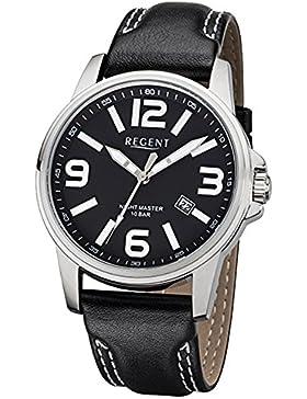 Regent Herren-Armbanduhr Elegant Analog Leder-Armband schwarz Quarz-Uhr Ziffernblatt schwarz URF995