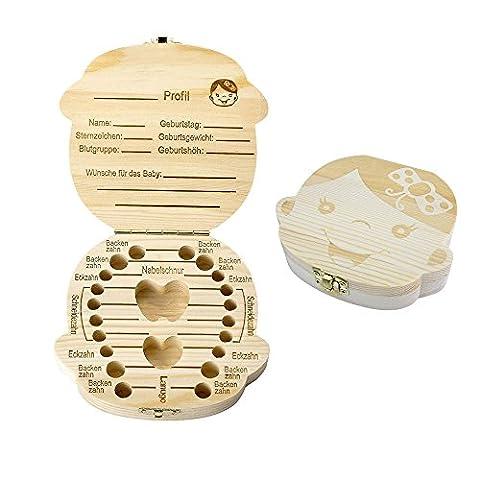 Holz Milchzähne Box [Deutsch Version], Aitsite Zahnbox Zahndose Milchzahndose Zahndöschen für Kinder (Mädchen)