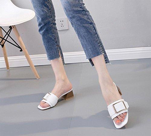 Im Sommer Sandalen mit dick mit weiblichen Drag Pantoffeln weibliches Waichuan Wort White