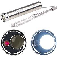 PEARL Stabtaschenlampe: 2in1-LED-Taschenlampe & Laserpointer, Edelstahl-Gehäuse, 15 Lumen (Presenter)