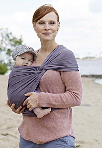 manduca Sling > Elastisches Babytragetuch mit GOTS Zertifikat < für Neugeborene ab Geburt (slate/grau, 5,10m x 0,60m)