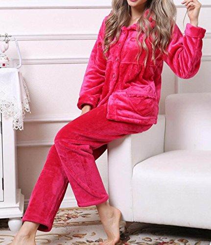 QPALZM QPALZM Pigiama Invernale Donna Soft Home Service Love Manica Lunga Set Comodo Pigiama Casual Red