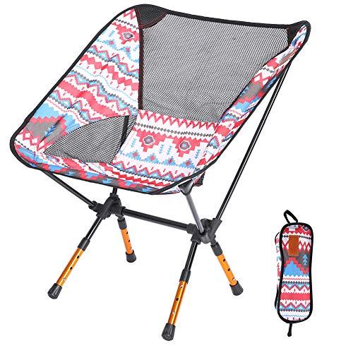 Xinwoer Ergonomische Rückenlehne und höhenverstellbarer Design-Klappstuhl, tragbarer Aluminium-Klappstuhl für Outdoor-Angeln Camping Barbecue Picknick(rot)