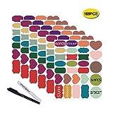 Nardo visgo et étiquettes Tableau Noir autoadhésives: 168 Premium Stickers + 2 Stickers Tableau Noir Craie markers-waterproof amovible réutilisable, idéal pour décorer votre Bocaux Mason réserves Artisanat et bureaux