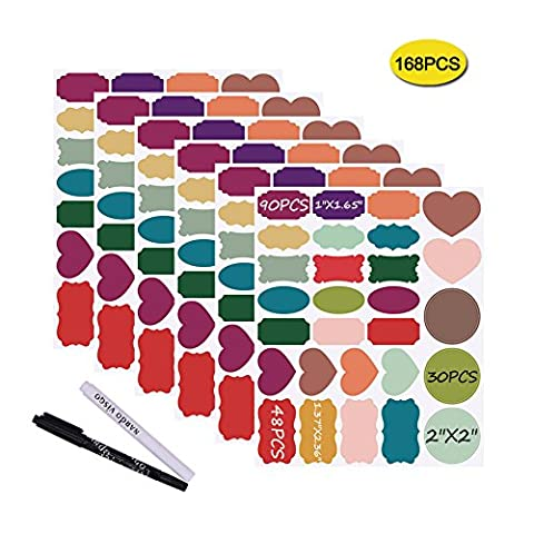 Nardo visgo® et étiquettes Tableau Noir autoadhésives: 168 Premium Stickers + 2 Stickers Tableau Noir Craie markers-waterproof amovible réutilisable, idéal pour décorer votre Bocaux Mason réserves Artisanat et bureaux
