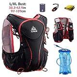 TRIWONDER Sac à Dos Hydratation 5L Léger Deluxe Marathoner Course Running Hydration Vest (Noir (L-XL) - avec 1,5 L vessie d'eau)