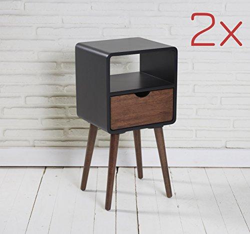 LC GmbH 2er Set Nachttische Nachtschränke Nachtkästchen Holz schwarz Mokka mit Ablage und Schublade - Mokka-konsole