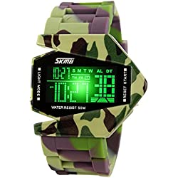 Highdas Men's Watch Camouflage Military Stealth Aircraft LED Multi-Functio 6 Colors