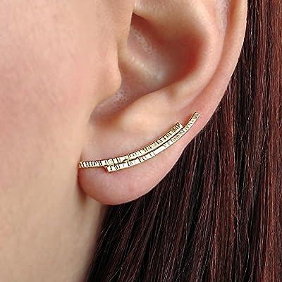 Boucles d'oreilles grimpantes en argent sterling 925, fait à la main par Emmanuela, grimpeurs d'oreille modernes, cadeau de bijoux de boucles d'oreilles elfe fée, manchettes d'oreille minimalistes