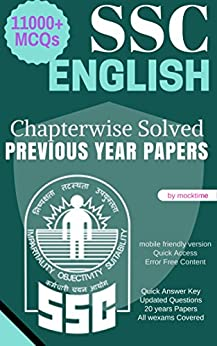 SSC English - 11000+ MCQ from Previous year papers: CGL/CHSL/LDC GD/MTS/CPO Others by [Time, Mock]