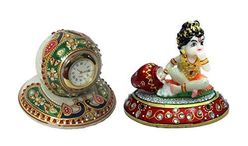 uhr mit Krishna Chowki handwerklich Marmor kundan Arbeit Mehrfarbige Paradestück religiös Geschenkartikel ()
