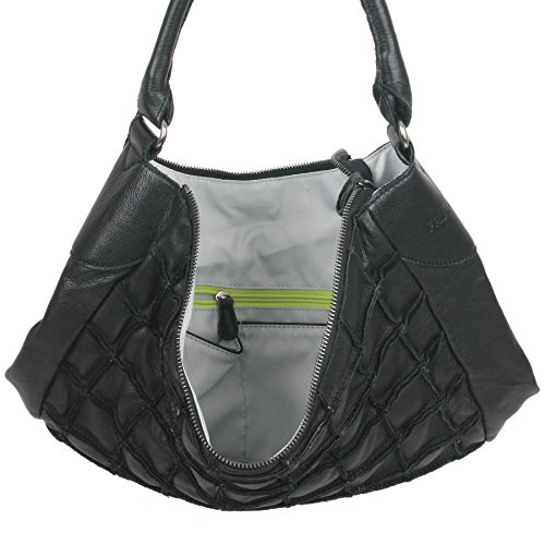 FREDsBRUDER sac besace effet gaufré en cuir ciré doux FS 16 (36 x 37 x 10 cm) Schwarz