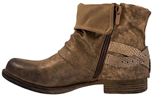 Elara Damen Biker Boots | Metallic Prints Schnallen | Nieten Stiefeletten Lederoptik | Gefüttert Gold Paris