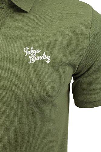 Herren Pique Polo T-Shirt von Tokyo Laundry `Florenzi`kurzärmlig Olivine Khaki