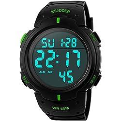 Mudder 5ATM Waterproof Digital Sports Military Multifunctional Dive Wrist Watch Green