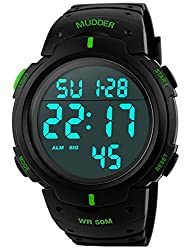 5atm Waterproof Digital Sports Military Multifunctional Dive Wrist Watch Green