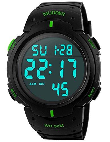 5ATM Wasserdichte Sport Armbanduhr Digital Quarz Grün