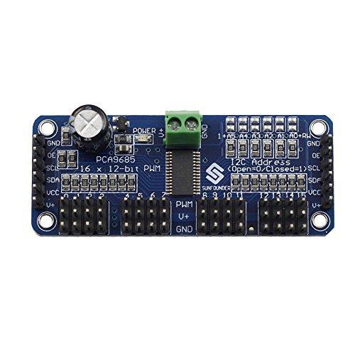 Preisvergleich Produktbild SunFounder PCA9685 16 Channel 12 Bit PWM Servo Driver for Arduino and Raspberry Pi