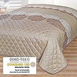 Couvre-lit FEUILLAGE / Jeté de Lit / pour lit double / marron / 220x240 cm