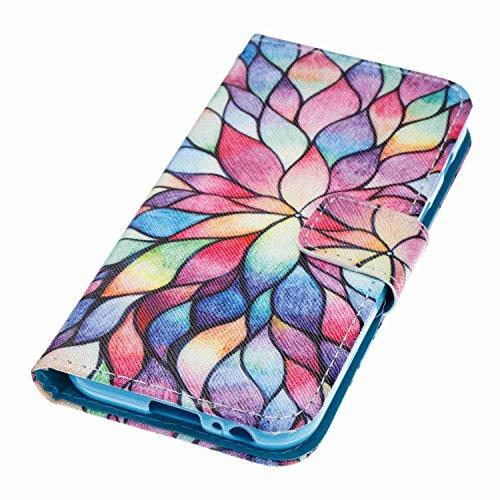Samsung Galaxy A3 2017 Hülle Case Leder, Alfort Handyhülle Ledertasche Bookstyle PU Lederhülle Flip Cover Tasche Schutzhülle für Samsung Galaxy A3 2017 4.7'' Klapphülle Brieftasche Flexible Silikon Ca Bunt Blumen