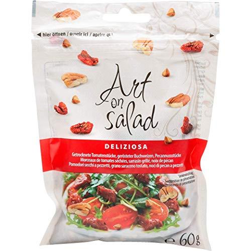 Art on Salad Deliziosa Salat Topping  Feine Mischung aus getrockneten Tomatenstücken, gerüsteten Buchweizen und Pecanstücken, 12er Pack (12 x 60 g)