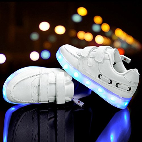 Zhuhaitf Kids Boys Girls LED Light Formateurs Sneakers USB Charging Sports Running Dance Shoes white